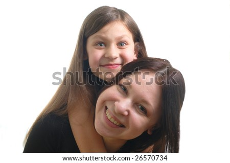 the portrait of happy family (mother and daughter)