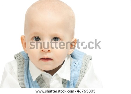 the portrait of little boy isolated on white background - stock photo