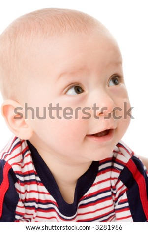 the portrait of little boy on white background