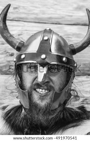The portrait of Viking, black and white photography.