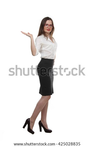 the portrait of young adult  fashion business woman wearing on white shirt,  black skirt  and red glasses showing gesturing   isolated on white background - stock photo
