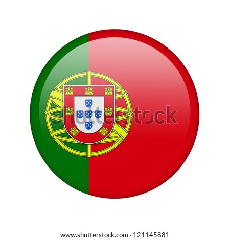 The Portuguese flag in the form of a glossy icon. - stock photo