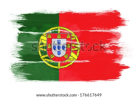 The Portuguese flag painted on white paper with watercolor - stock photo