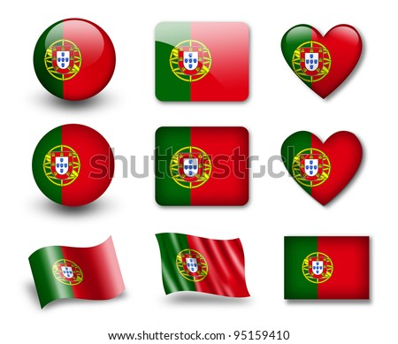 The Portuguese flag - set of icons and flags. glossy and matte on a white background. - stock photo