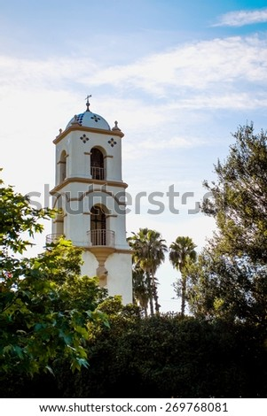 The post office tower in down town Ojai. - stock photo