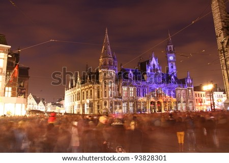 The Post plaza in Ghent, Belgium. During the Festival of lights. - stock photo