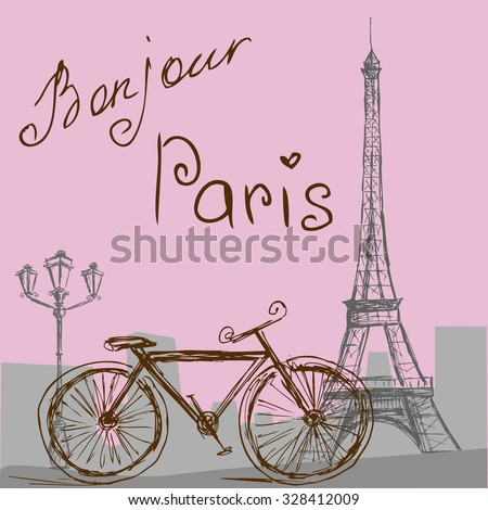 The poster with the bike  in vintage style. Silhouette of the Eiffel tower.  - stock photo