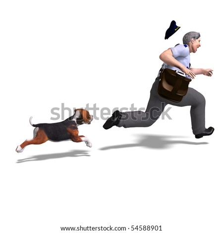 the postman runs from the dangerous dog. 3D rendering with clipping path and shadow over white - stock photo