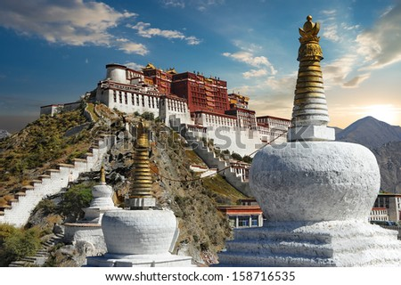 The Potala Palace in Lhasa - Tibet - stock photo