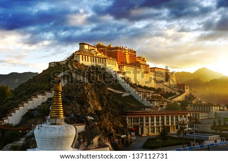 The potala palace,in Tibet of China - stock photo