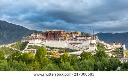 the Potala Palace under the morning sunshine in Lhasa, Tibet. - stock photo