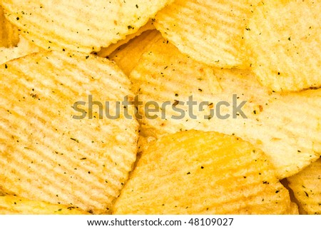 the potato chips corrugated a background