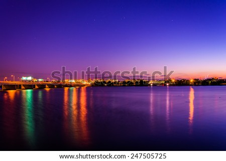 The Potomac River at night in Washington, DC. - stock photo