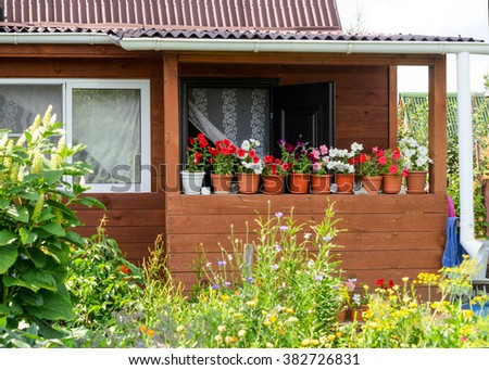 The pots of flowers on the veranda of the summer house among the grasses. - stock photo