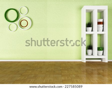 the pots with the grass on the shelves, 3D rendering - stock photo
