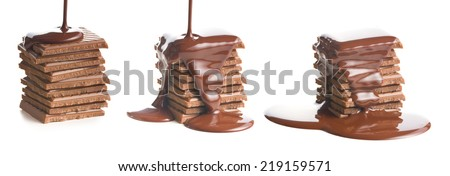the pouring chocolate on chocolate bar - stock photo