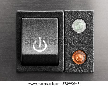 The power button coffee, close-up - stock photo