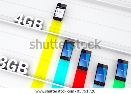 The power of 4G , Smart phone concept using the speed of 4G Technology for faster information and speed of use. - stock photo