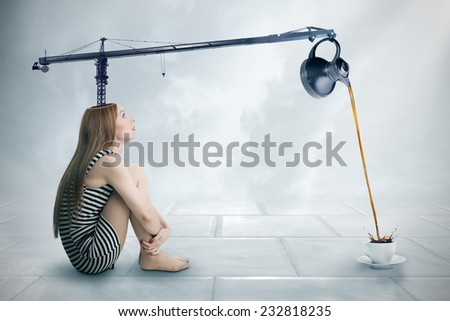 The power of intellect concept. Side profile young woman with crane telescopic beam coming out of her head pouring coffee into cup isolated grey wall background. Expression, life perception, approach  - stock photo