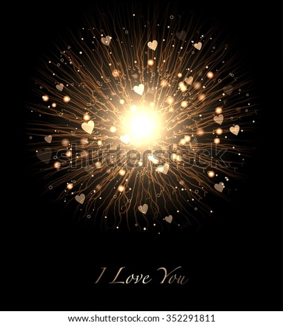 The power of love in the form of a Bengal fire and gold hearts on a black background. Valentine's day should be celebrate brightly. - stock photo