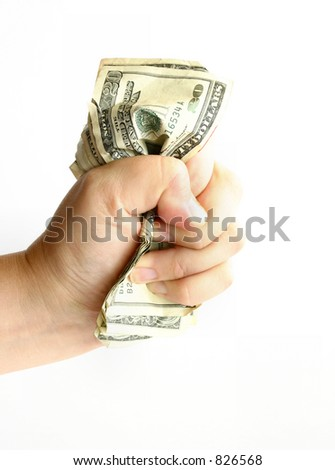 The Power of Money: Conceptual image to demonstrate the power of money, making money hand-over-fist, greed, stress/financial worries, etc.