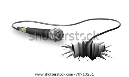 The power of rock music. Vocal microphone that breaks through a white floor.