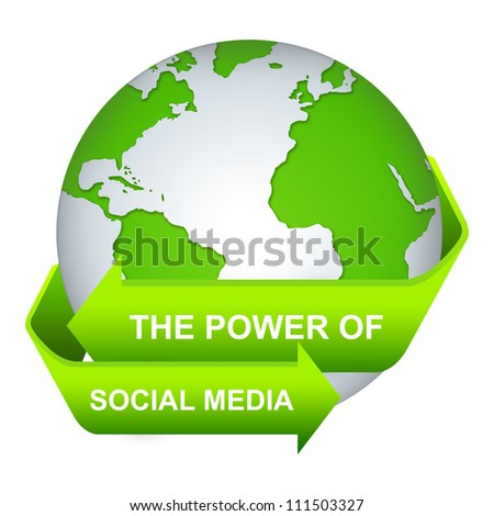 The Power of Social Media Concept With Green Globe and Label Isolate on White Background