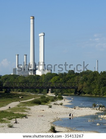 "The power plant at the ""Isar"" in Munich in Germany"