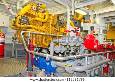The power plant in  ship's engine room - stock photo