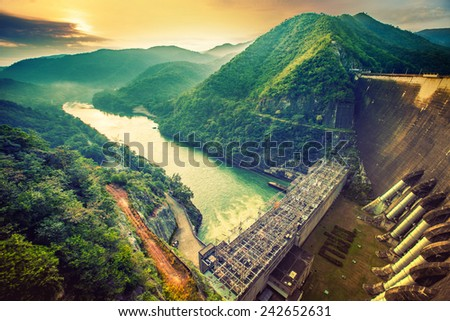 The power station at the Bhumibol Dam in Thailand - stock photo