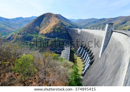 The power station at the Bhumibol Dam in Thailand. The dam is situated on the Ping River and has a capacity of 13,462,000,000 cubic