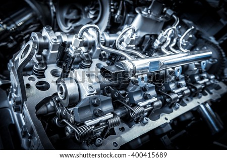 The powerful engine of a car - stock photo