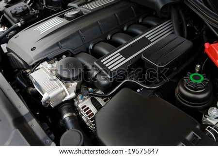 The powerful engine of the modern car - stock photo