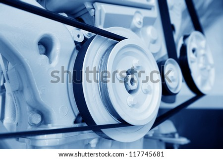 The powerful engine of the sailboat. - stock photo