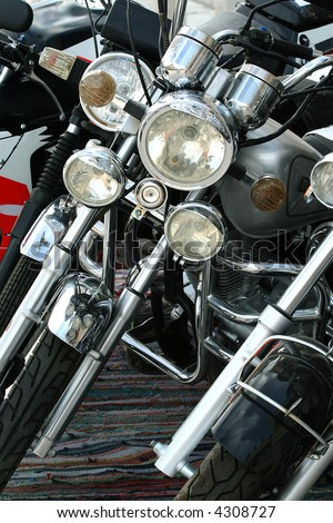 The powerful motorcycle waits for the buyer - stock photo