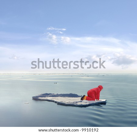 The practical side of Global Warming research. A scientist stranded on an ice floe. - stock photo