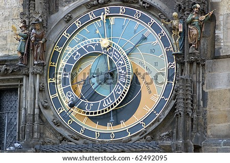 The Prague Astronomical Clock is a medieval astronomical clock located in Prague, the capital of the Czech Republic,15th century. - stock photo