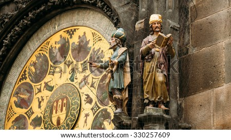 The Prague astronomical clock, or Prague orloj is a medieval clock located in Prague, the capital of the Czech Republic - stock photo