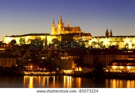 The Prague Castle at night
