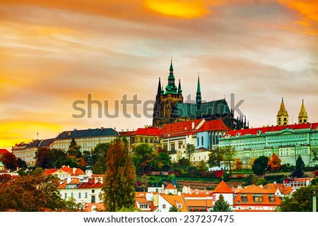 The Prague castle close up at sunset - stock photo