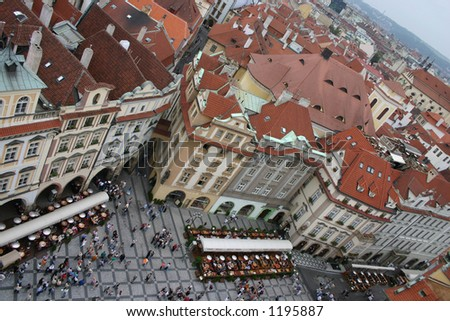 the Prague from the sky - stock photo