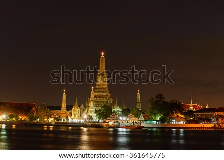 The prang of the Wat Arun  The temple of Dawn on the Chao Phraya river One of Bangkokâ??s most famous landmarks and known from many postcards,