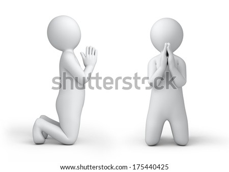 the praying 3d human, isolated on white - stock photo