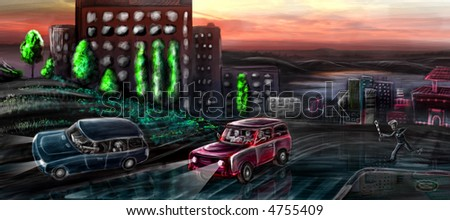 The pre-dawn racers playing game known only for him, leaving from prosecution... - stock photo