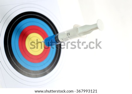The precise medical syringe hit the target