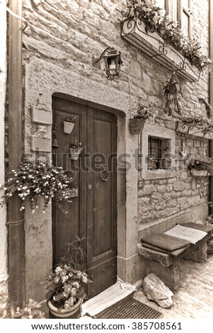 The present a provincial interior of Tuscany, Italy, Europe. Old style. Sepia - stock photo