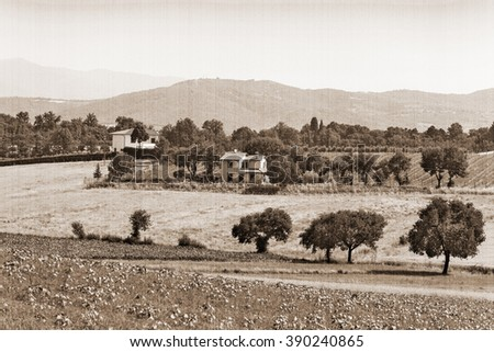 The present a provincial landscape of Tuscany, Italy, Europe.  Old style. Sepia - stock photo