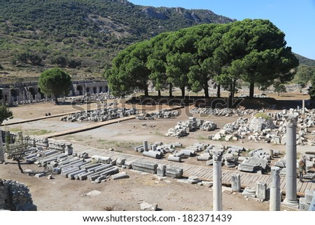 The preserved ruins at Ephesus, in Turkey - stock photo