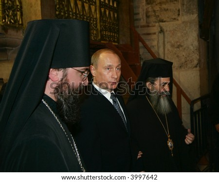 The president of Russia Vladimir Putin  In Jerusalem, Holy Sepulchre