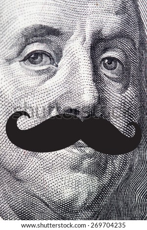 The president's face with a dollar bill with hipster mustache - stock photo